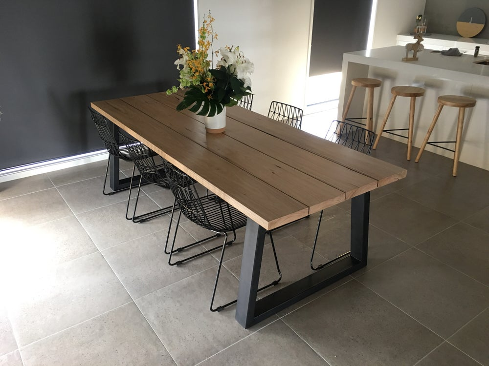 Image of PLANK - Dining Table w Steel Legs