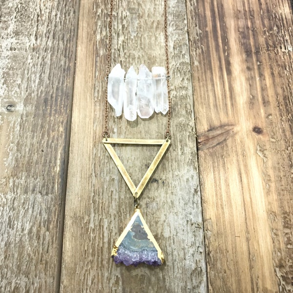Image of Crystal Cluster With Hanging Amethyst Pendant