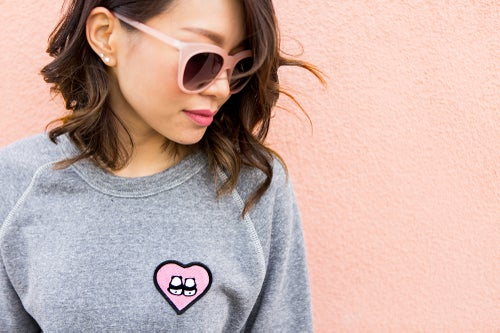 "Image of ""Panda Bums"" Patch Sweater (Heather Grey)"