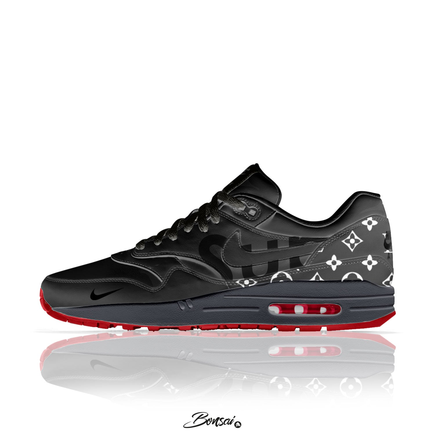 Image of Black above Red - Air Max 1