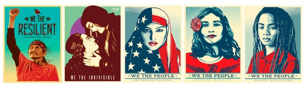 "Image of ALL 5 ""WE THE PEOPLE"" LITHOGRAPHS BY SHEPARD, ERNESTO, AND JESSICA"