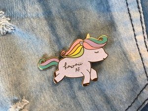 Image of Kawaii AF Glitter Unicorn Enamel Pin
