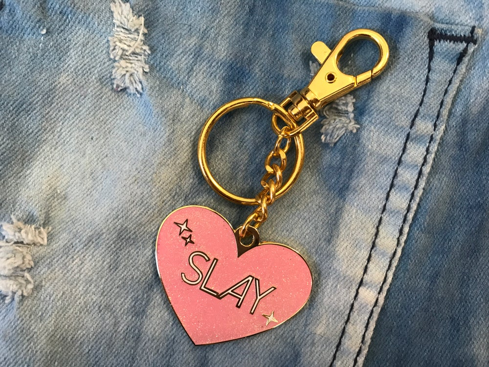Image of Slay Heart Glitter Bag Charm/Keychain