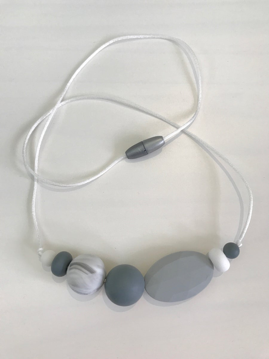 Image of 'Grayscale' Sensory Silicone Bead Necklace (BPA free)