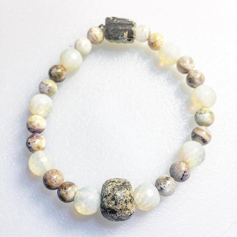 Image of Healing Past Karma ~Fossilized Mammoth bone, Opalite, Chrysanthemum, Pyrite