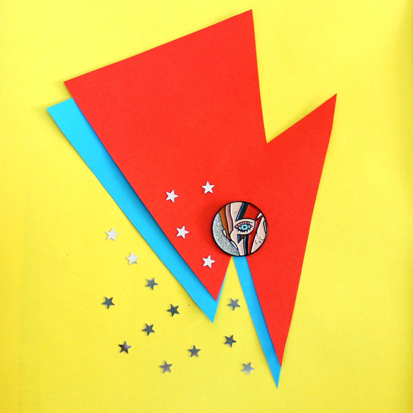 Image of Lightning bolt makeup David Bowie inspired glitter enamel pin ...  sc 1 st  Clorty Cat Crafts & Clorty Cat Crafts u2014 Lightning bolt makeup David Bowie inspired ... azcodes.com
