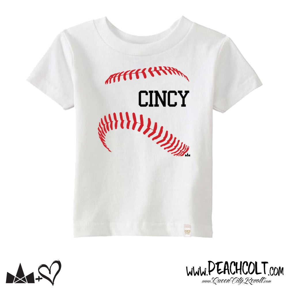 Image of Cincy Baseball, Toddler Tee, White