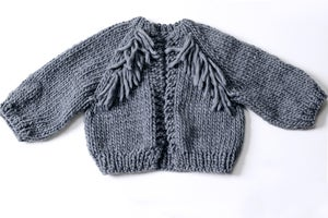 Image of Perth Chunky Cardigan (shown w/ Fringe option)  Peruvian wool (shown in Charcoal- more colours)