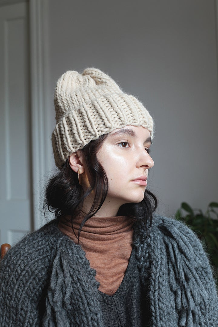 Image of Elora toque in Alpaca &  Andean Highland wool (shown in pale sand)