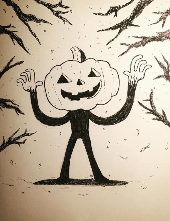 Image of Inktober Original Ink Drawing - The Jack-O-Lantern Man
