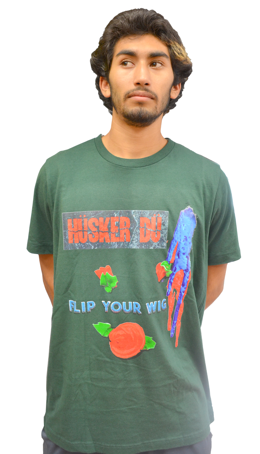 Image of HÜSKER DÜ: 'FLIP YOUR WIG' OLIVE T-SHIRT