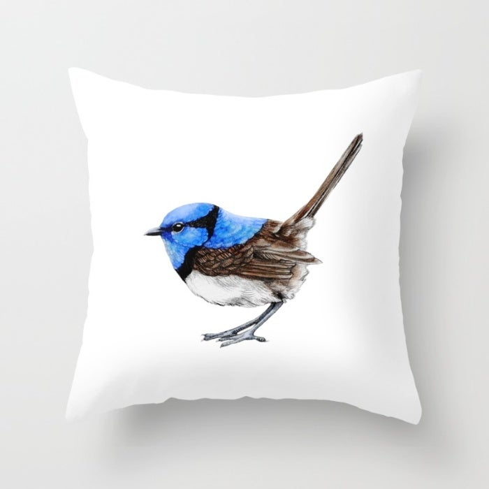 Image of Blue Wren on White, Handmade Linen Cushion Cover, Made to Order