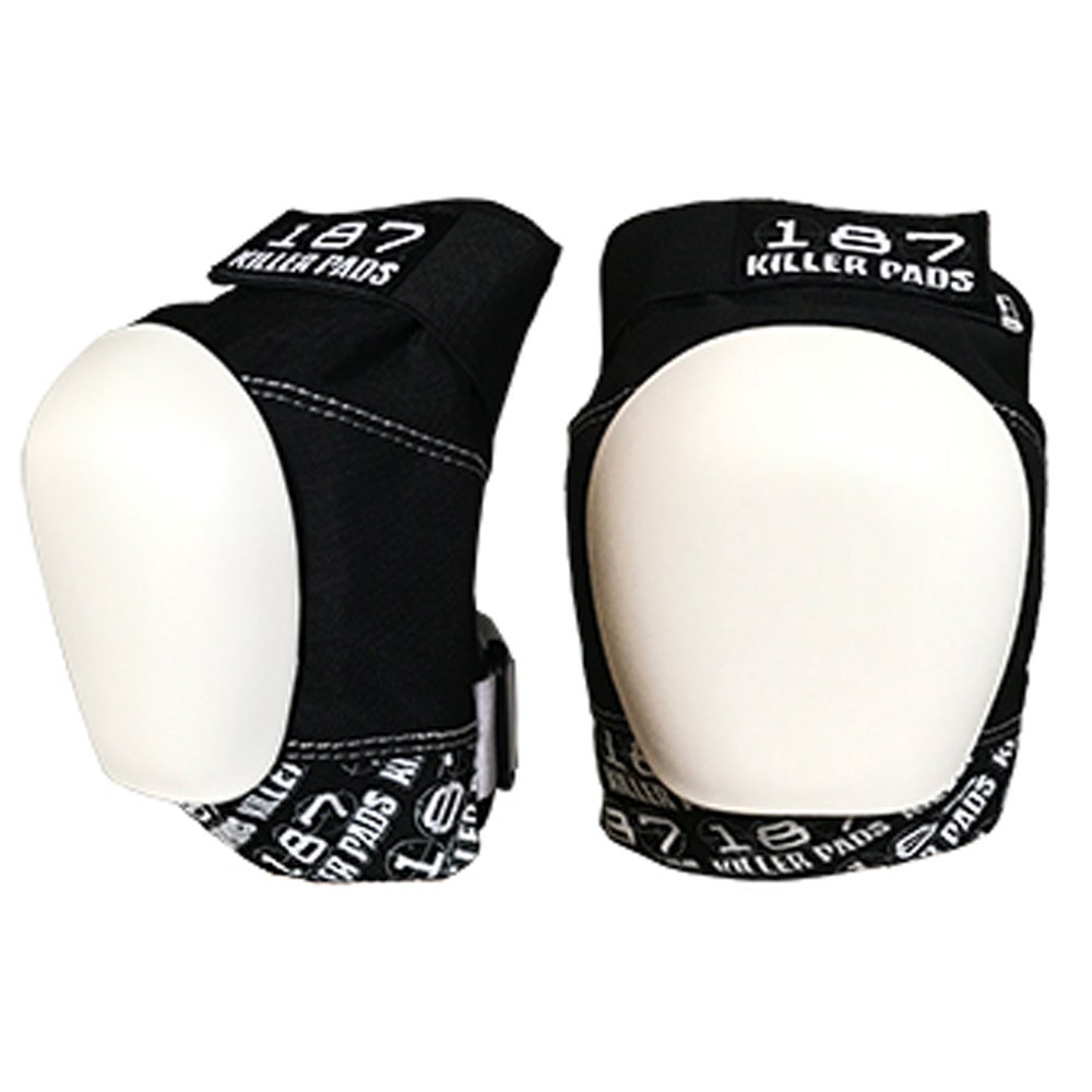 Image of PRO KNEE PADS BLACK WHITE WITH WHITE CAPS