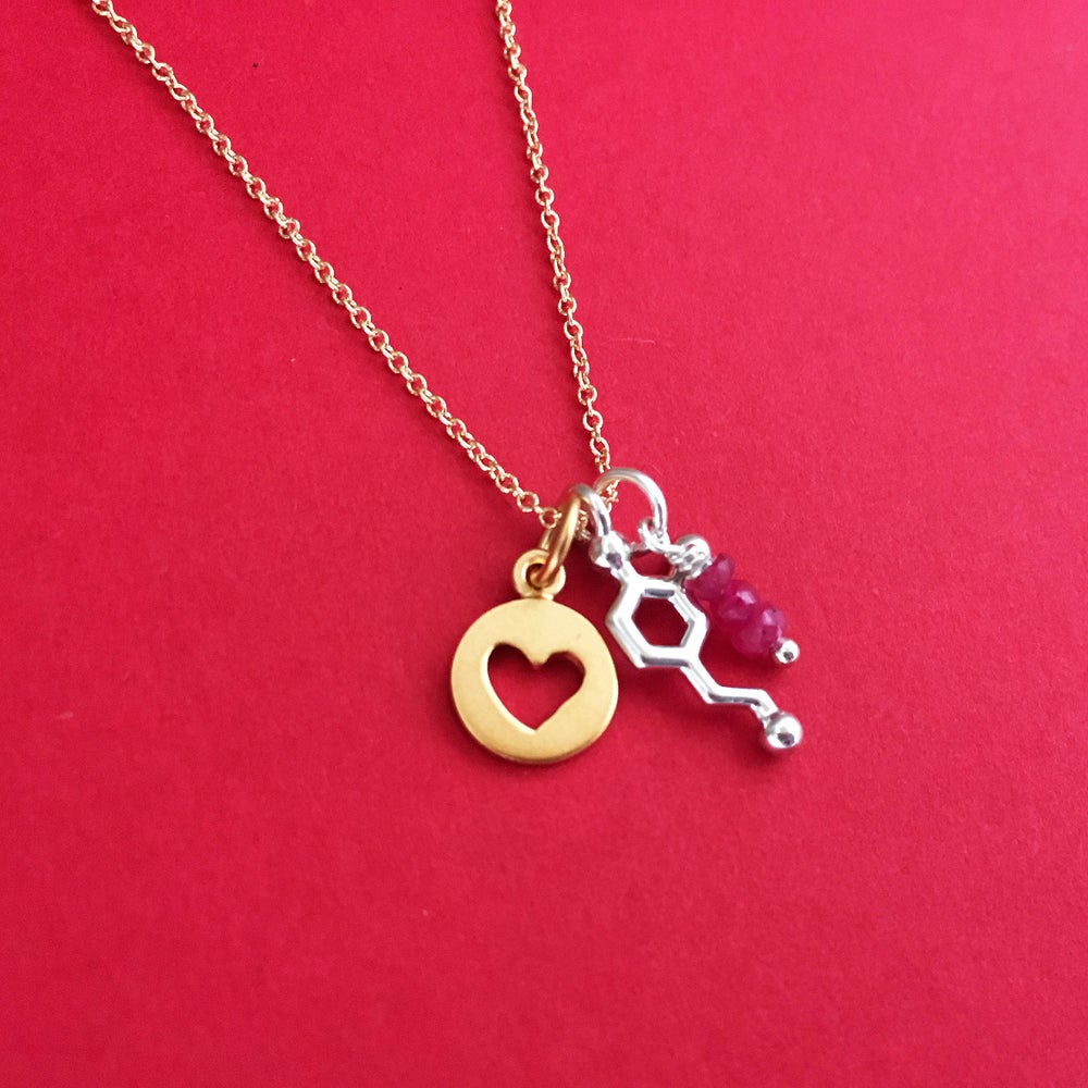 Image of tiny dopamine heart ruby necklace