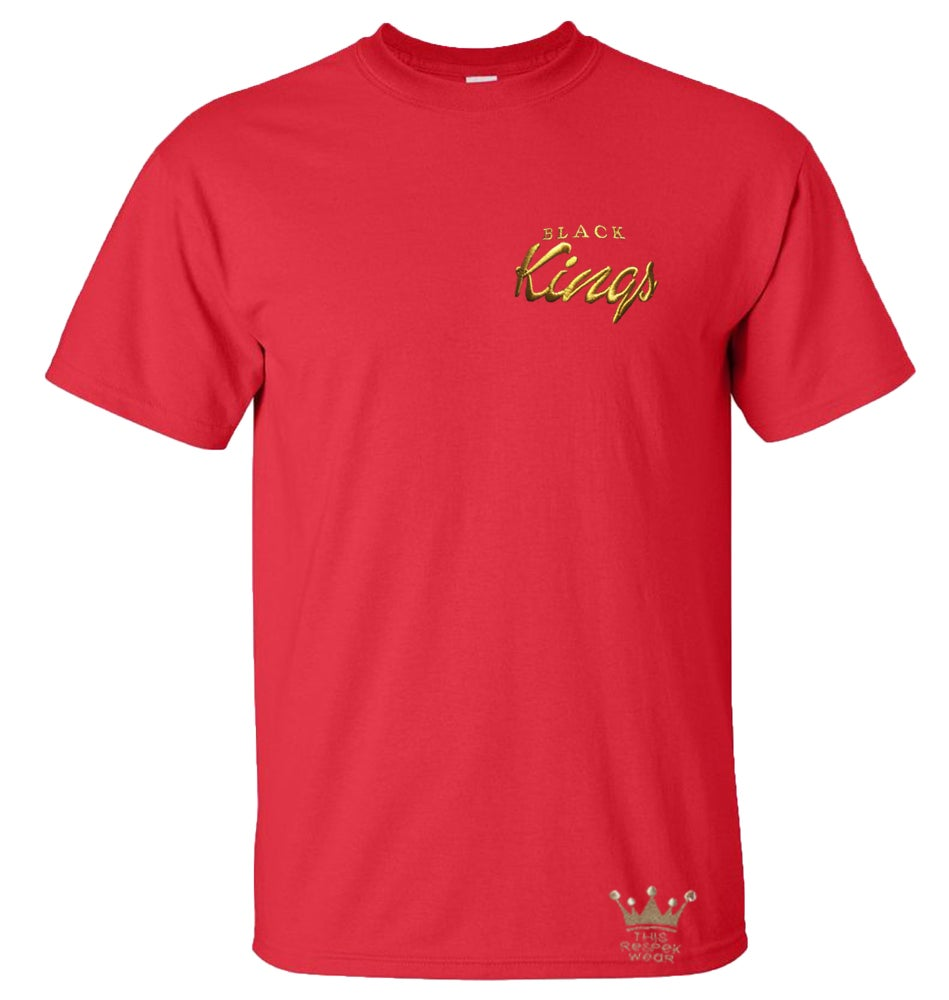 """Image of """"Black Kings"""" Embroidered T-shirt (Red)"""
