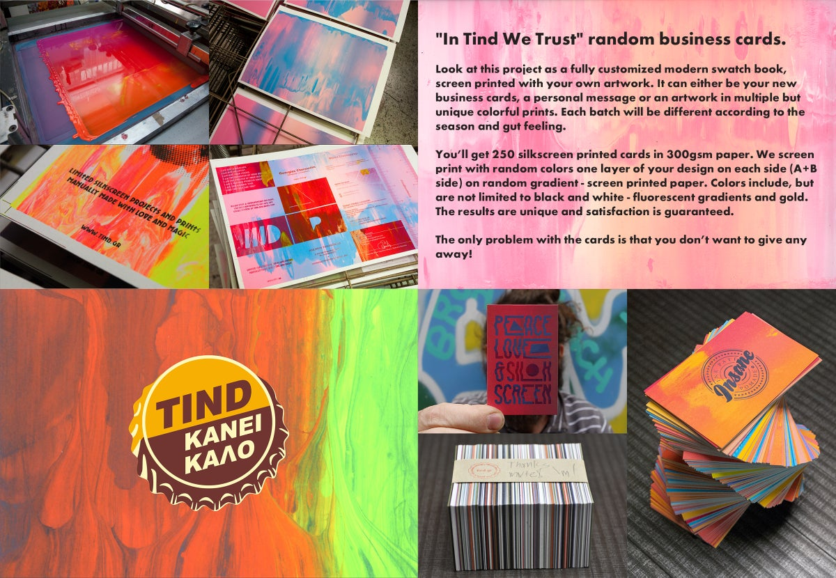 tind — In Tind we trust random business card prints.