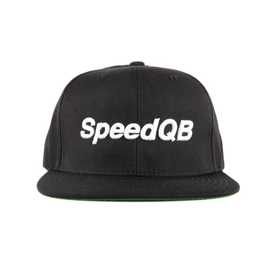 "Image of SpeedQB ""Wordmark"" 6 Panel Snapback (Black)"