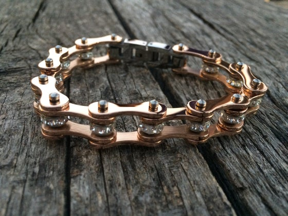 Image of PRE ORDER Ships the 3rd week of November Rose Gold Stainless Steel Chain Bracelet with gems