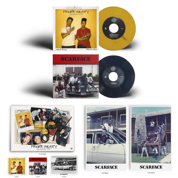 Image of Private Identity (Def Jam Blaster & MC 3-2)/Scarface 7 Inch bundle!(Black & Yellow)