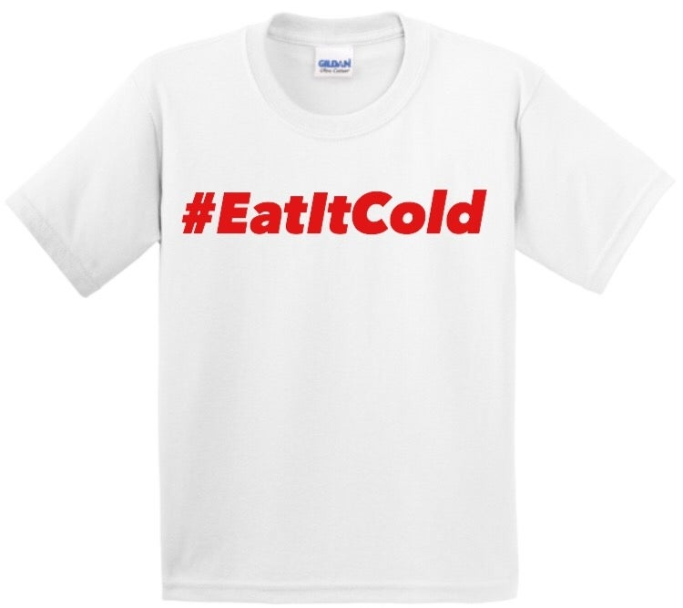 Image of #EatItCold By Pookie Jr White T-Shirt (Red)
