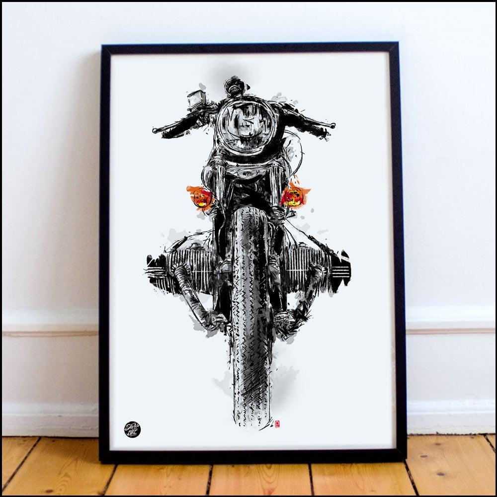 Image of Framed Motorcycle Art - 30x40cm