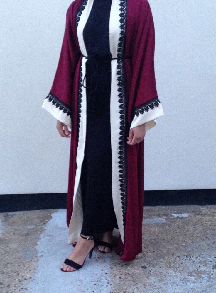 Image of Maroon Mehreen Abaya Pre-Order