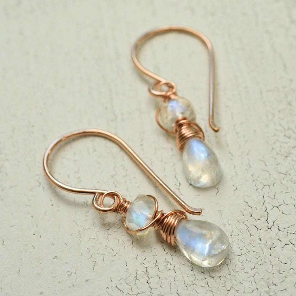 Image of Tiny rainbow moonstone earrings June birthstone jewelry