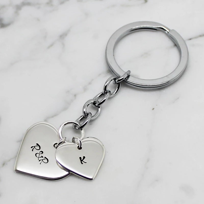 Image of PERSONALISED DOUBLE LOVE HEART STERLING SILVER KEY CHAIN