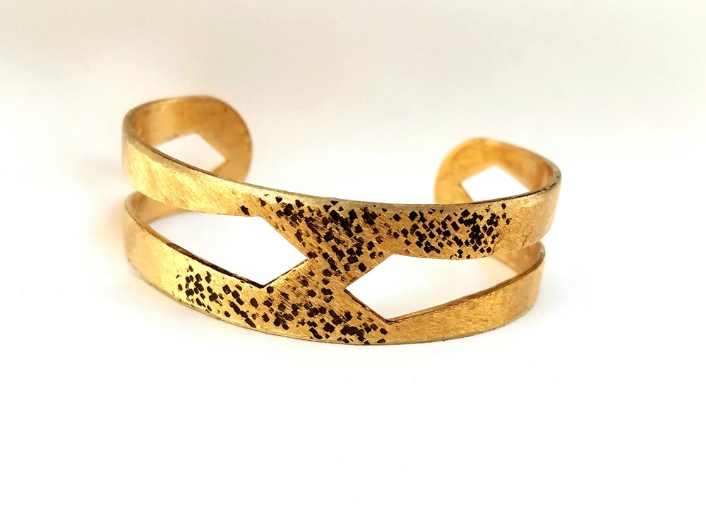 Image of Gold & Brown Oxidized Rustic Textured Cuff