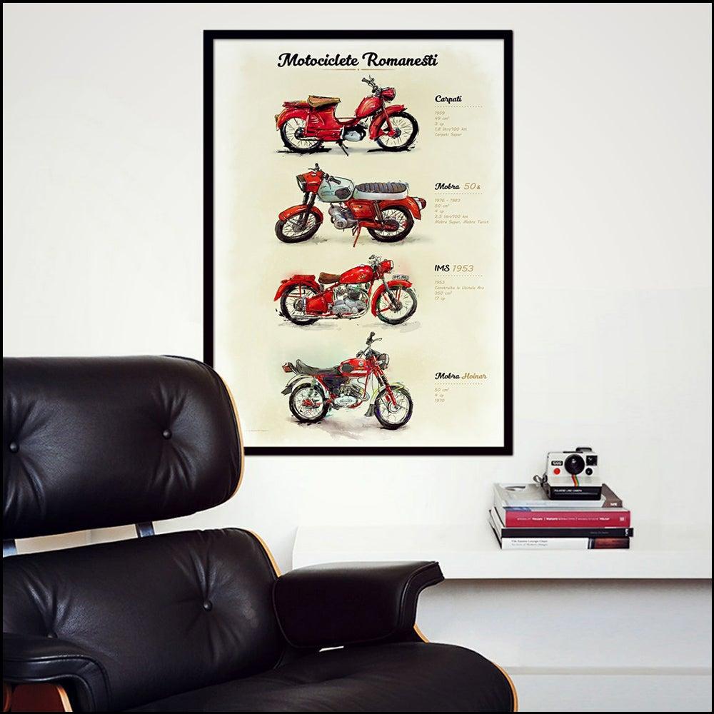 Image of Romanian Motorcycles Art - 29.7x42cm