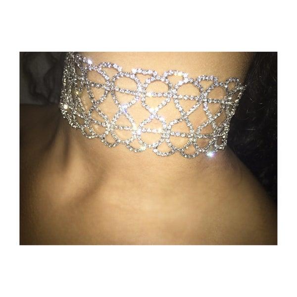 Image of Detailed Diamante Tie Choker