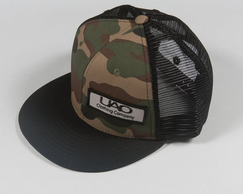 Image of UAO Clothing Co. Patch Trucker Hats (Camo/Black Visor)