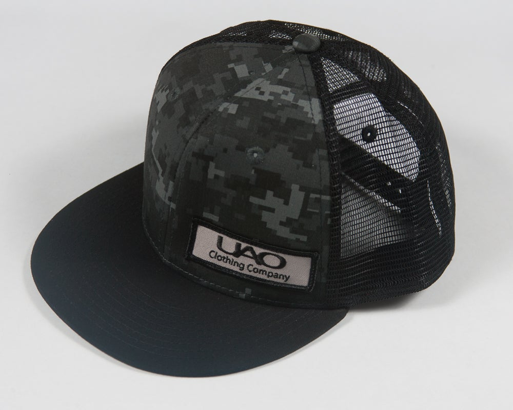 Image of UAO Clothing Co. Patch Trucker Hats (Digi Camo/Black Visor)