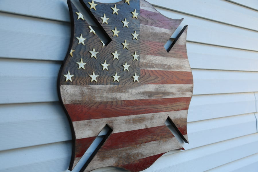 Image of Rustic Maltese Cross American Flag