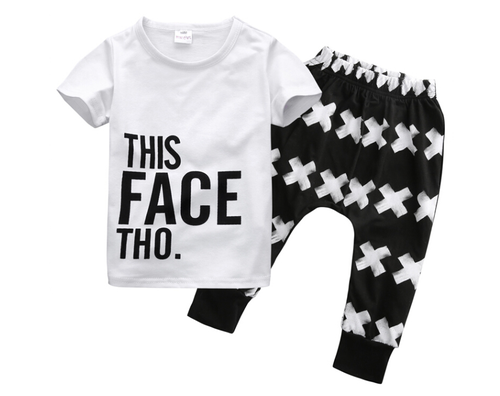 "Image of ""This Face Tho"" Boys Harem Pants Set"