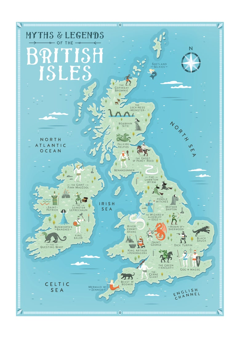 Image of Myths & Legends of the British Isles - print