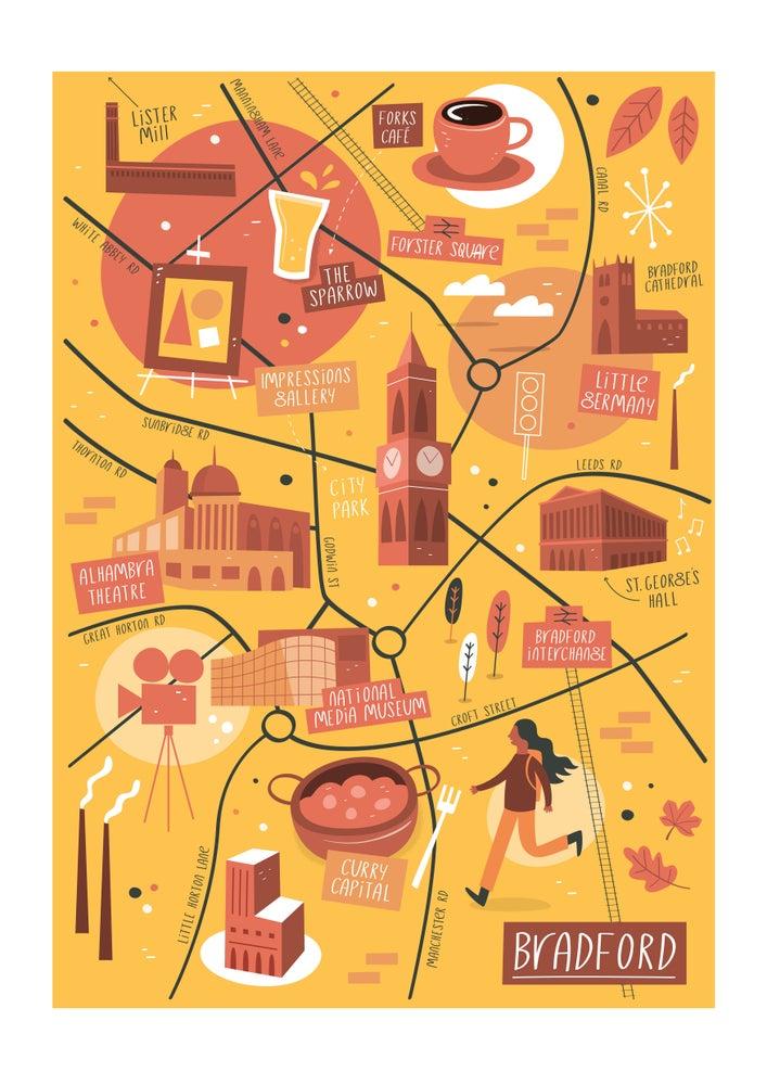 Image of Illustrated map of Bradford - print