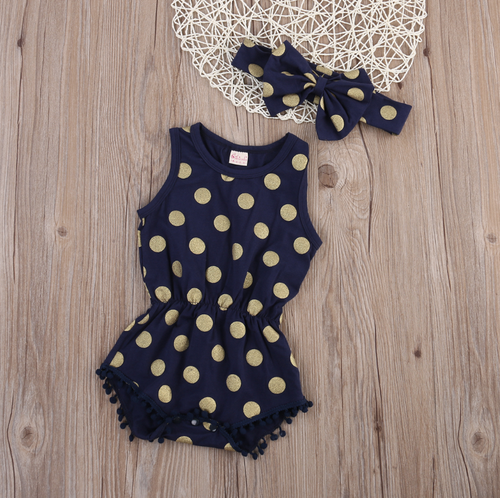 Image of Gold Polka Dot Pom Pom Romper