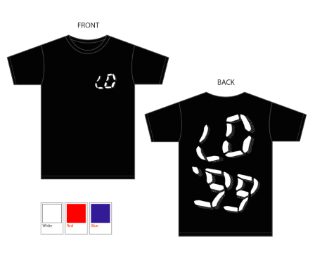 Image of LO'99 WHITE ON BLACK TEE - LIMITED EDITION
