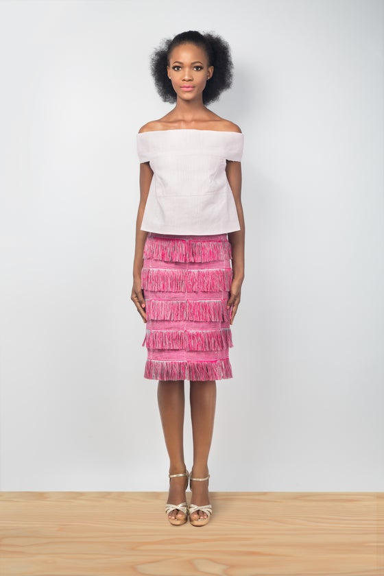 Image of Dumi Fringe Skirt (Bougainvillea/Ash)