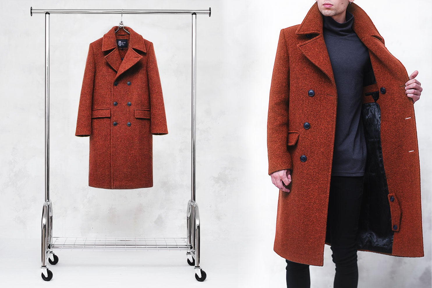Image of LIMITED EDITION   Neon Orange Wool-Blend Bouclé Overcoat
