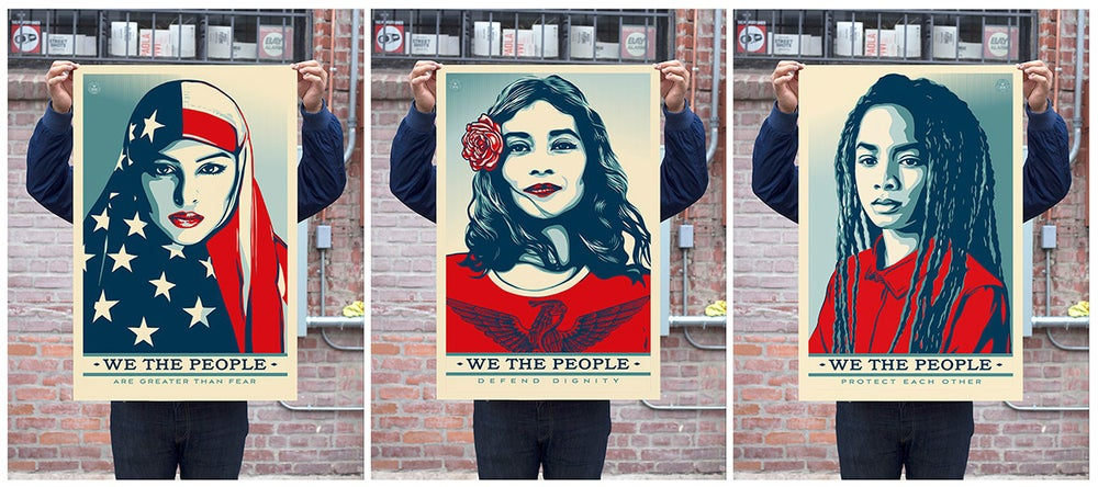 "Image of Limited Time Only: WE THE PEOPLE 24x36"" Lithograph Prints by Shepard Fairey (2 of each!)"