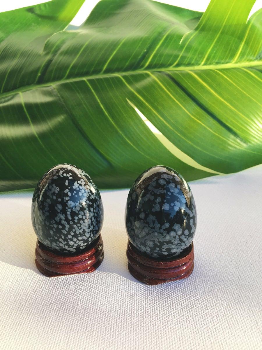 Image of Yoni Eggs :: Snowflake Obsidian • Large