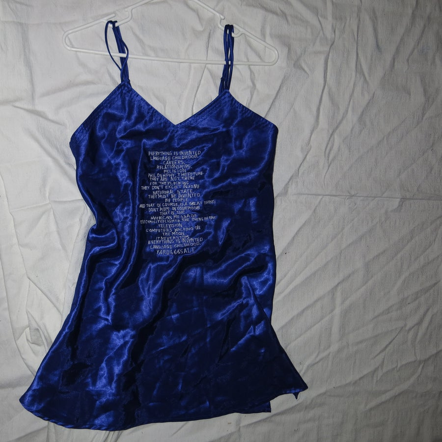 Image of a note on inventing satin dress S
