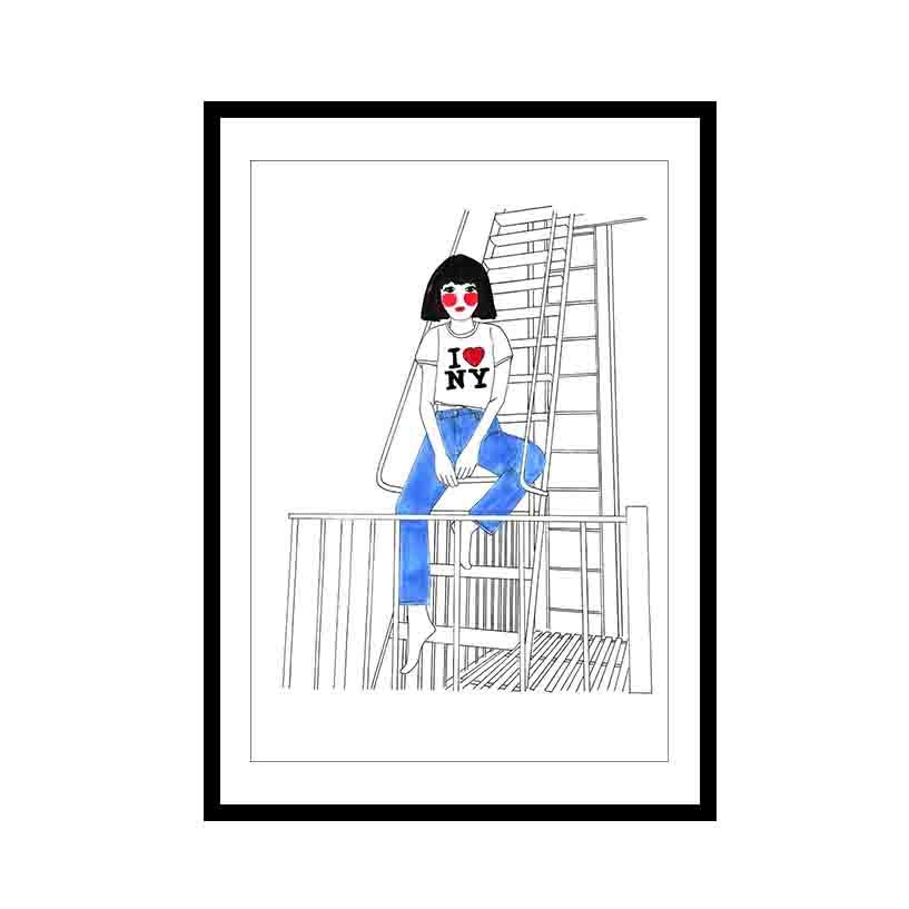 Image of Girl on NYC fire escape