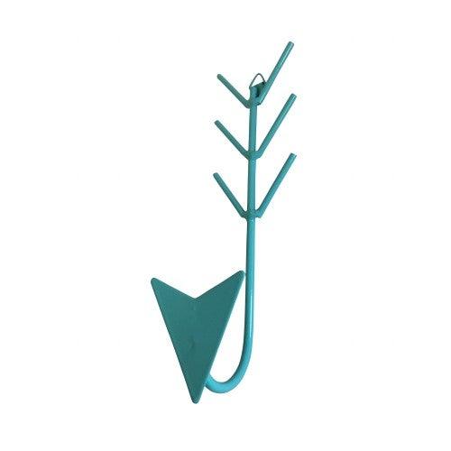 Image of Metal arrow hanging hook in teal
