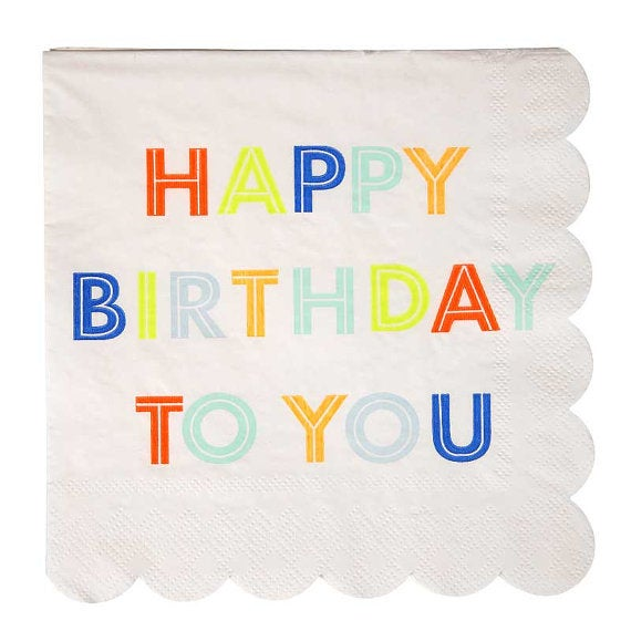 Image of Happy Birthday small napkins