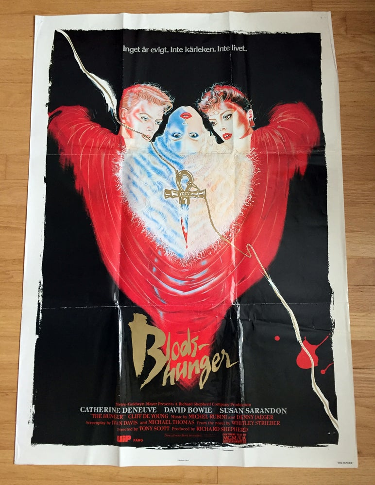 Image of 1983 THE HUNGER Original Swedish One Sheet Movie Poster