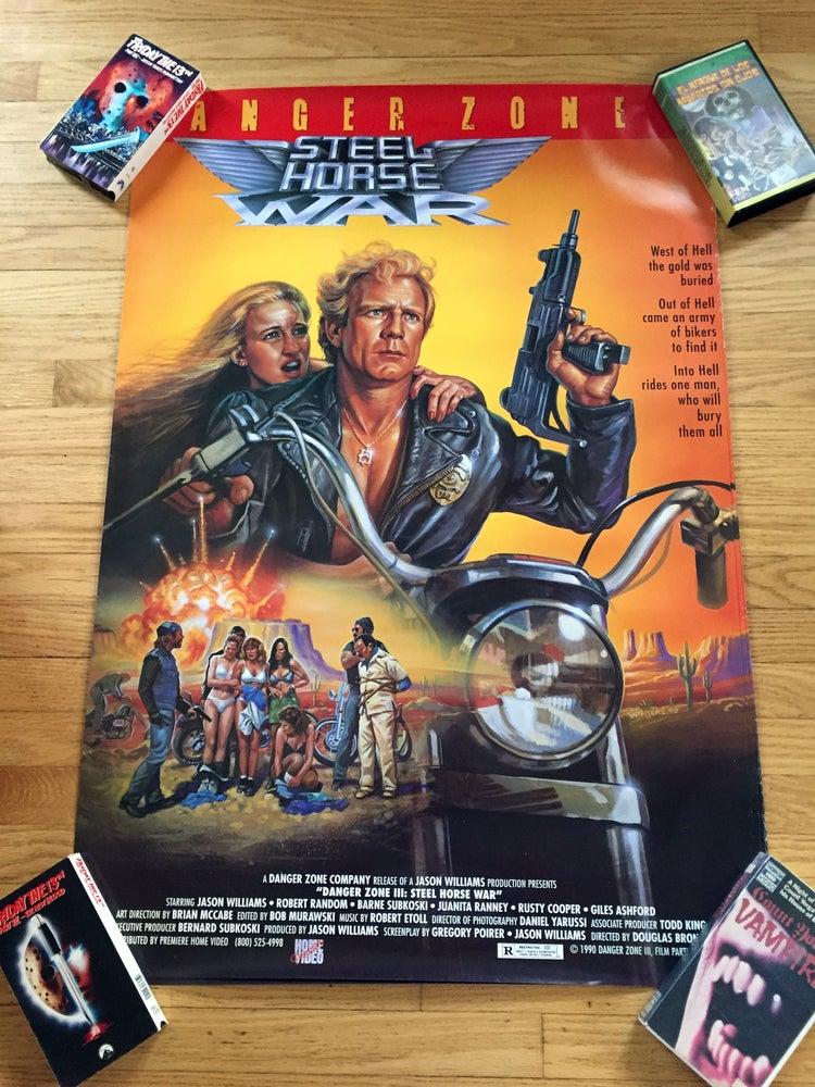 Image of 1990 DANGER ZONE III STEEL HORSE WAR Original Primier Home Video Promotional Movie Poster