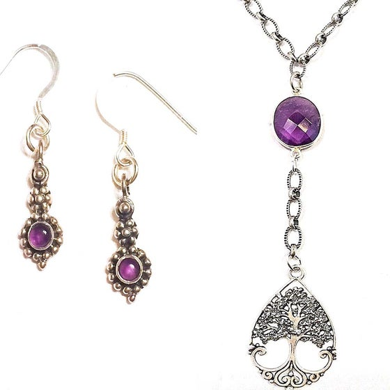 Image of TREE-OF-LIFE & AMETHYST LARIAT NECKLACE